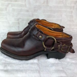 Frye Brown Leather Belted Harness Mule Size 6